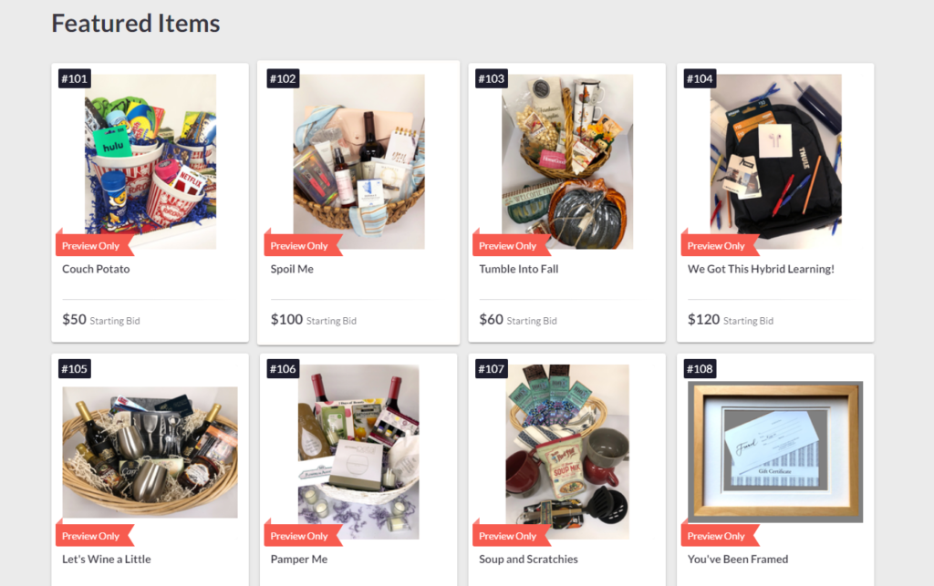 8 items that are available in the auction